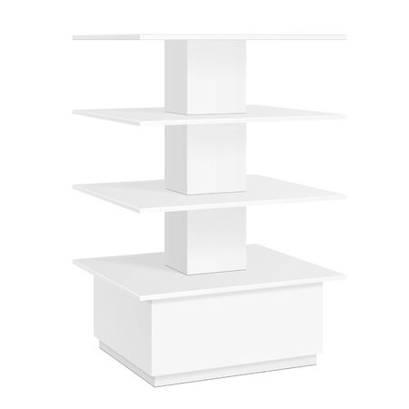 poi: White Square POS POI Cardboard Floor Display Rack For Supermarket Blank Empty Displays With Shelves Products On White Background Isolated. Ready For Your Design. Product Packing. Vector