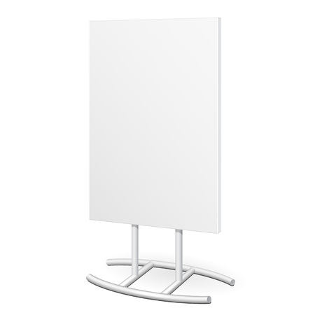 outdoor advertising: Simple Outdoor Indoor Stander Advertising Stand Banner Shield Display, Advertising. Mock Up Products On White Background Isolated. Ready For Your Design. Product Packing. Vector