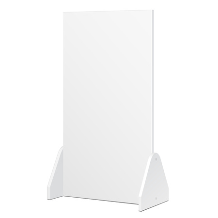 product display: Simple Outdoor Indoor Stander Advertising Stand Banner Shield Display, Advertising. Mock Up Products On White Background Isolated. Ready For Your Design. Product Packing. Vector