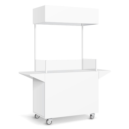 White POS POI Blank Empty Retail Stand Stall Mobile Bar Display With Roof, Canopy, Banner. Fast Food. On White Background Isolated. Mock Up Template Ready For Your Design. Product Packing Vector  イラスト・ベクター素材