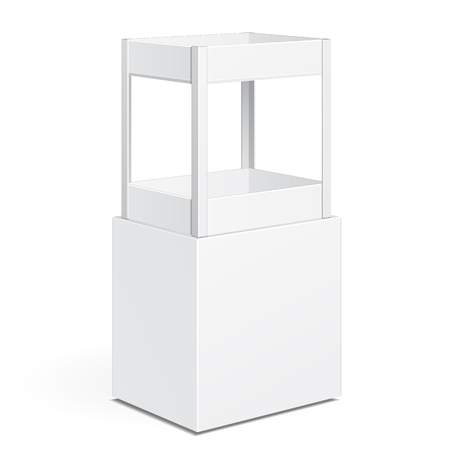 product display: White Square POS POI Cardboard Floor Display Rack For Supermarket Blank Empty Displays With Shelves Products On White Background Isolated. Ready For Your Design. Product Packing. Vector