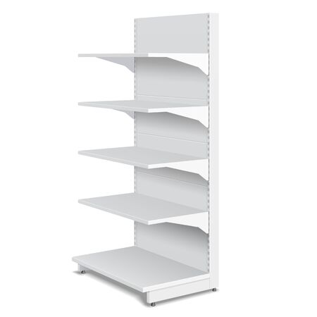 shelf: White Blank Empty Showcase Displays With Retail Shelves Products 3D On White Background Isolated. Ready For Your Design. Product Packing. Vector Illustration