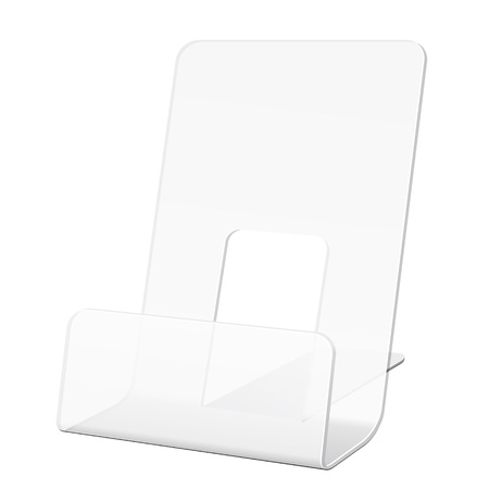 handout: White POS POI Cardboard Blank Empty Show Box Holder For Advertising Fliers, Leaflets Or Products On White Background Isolated. Ready For Your Design. Product Packing. Vector EPS10 Illustration