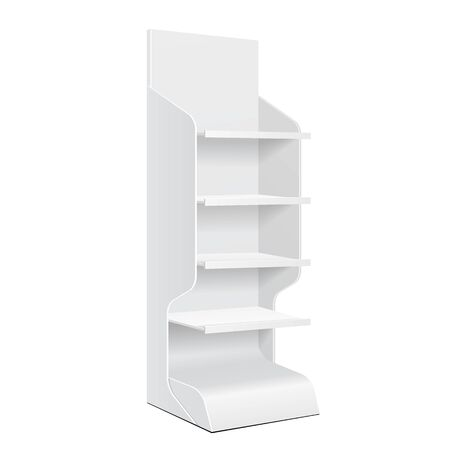 product display: White POS POI Cardboard Floor Display Rack For Supermarket Blank Empty Displays With Shelves Products On White Background Isolated. Ready For Your Design. Product Packing. Vector