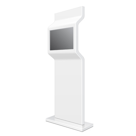 poi: Outdoor POS POI City Light Box Advertising Stand Banner Shield Display, Advertising. Illustration Isolated On White Background. Vector Illustration