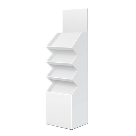 product display: White Cardboard Floor Display Rack For Supermarket Blank Empty Displays With Shelves Products On White Background Isolated. Ready For Your Design. Product Packing. Vector