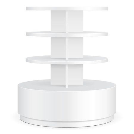 single shelf: White Round POS POI Cardboard Floor Display Rack For Supermarket Blank Empty Displays With Shelves Products On White Background Isolated. Ready For Your Design. Product Packing. Vector Illustration