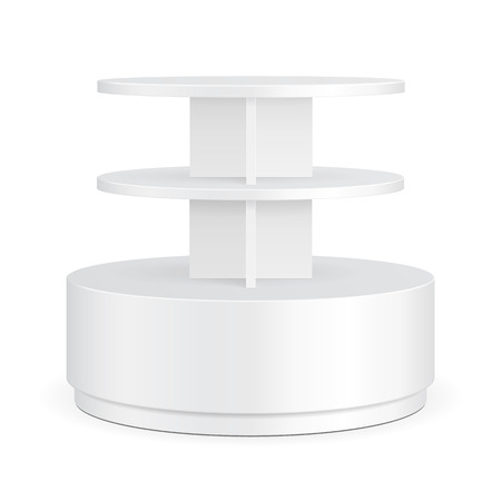 poi: White Round POS POI Cardboard Floor Display Rack For Supermarket Blank Empty Displays With Shelves Products On White Background Isolated. Ready For Your Design. Product Packing. Vector Illustration