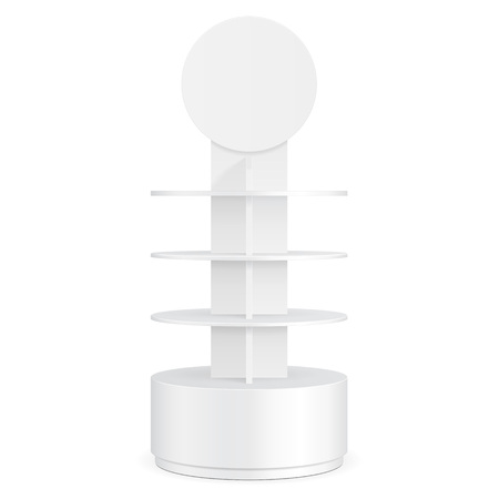 White Round POS POI Cardboard Floor Display Rack For Supermarket Blank Empty Displays With Shelves Products On White Background Isolated. Ready For Your Design. Product Packing. Vector Stock Illustratie
