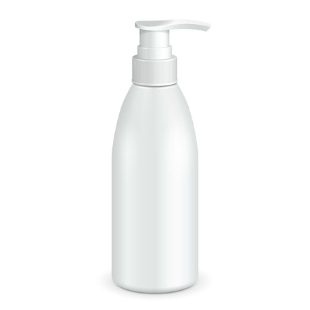 dispenser: Gel, Foam Or Liquid Soap Dispenser Pump Plastic Bottle White. Mock Up Products On White Background Isolated. Ready For Your Design. Product Packing. Illustration