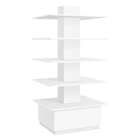 poi: White Square POS POI Cardboard Floor Display Rack For Supermarket Blank Empty Displays With Shelves Products On White Background Isolated. Ready For Your Design. Product Packing. Vector EPS10 Illustration