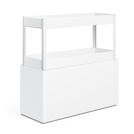 poi: White Square POS POI Cardboard Floor Display Rack For Supermarket Blank Empty Displays With Shelves Products On White Background Isolated. Ready For Your Design. Product Packing. Illustration