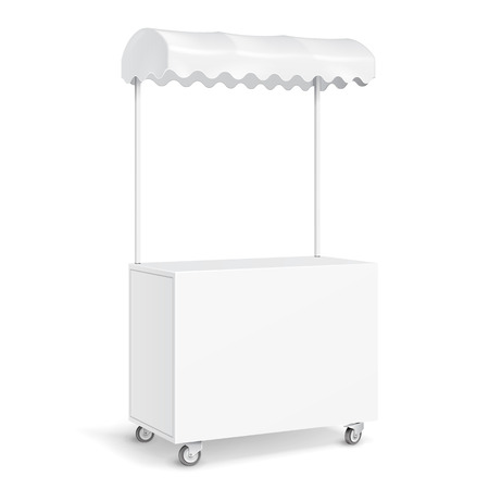 retail display: White POS POI Blank Empty Retail Stand Stall Mobile Bar Display With Roof, Canopy, Banner. Fast Food. On White Background Isolated. Mock Up Template Ready For Your Design. Product Packing