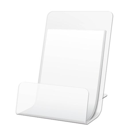 poi: White POS POI Cardboard Blank Empty Show Box Holder For Advertising Fliers, Leaflets Or Products On White Background Isolated. Ready For Your Design. Product Packing. Illustration