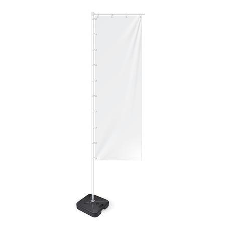 Bandiera pannello bianco all'aperto con la terra Fillable Acqua Base, Stander Pubblicità Banner Shield. Mock up prodotti su sfondo bianco isolato. Pronto per la progettazione. Imballaggio del prodotto Vettoriali