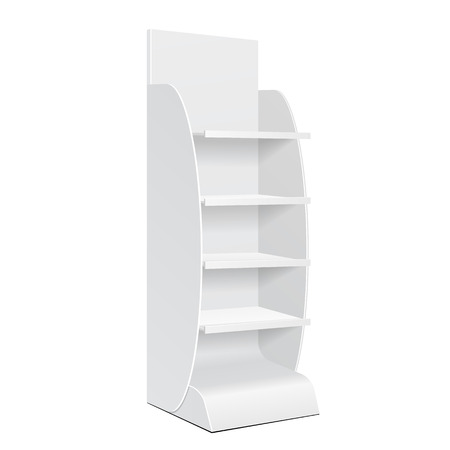 Estante de exhibición blanco del piso de la cartulina del POI de la posición para el supermercado muestra en blanco vacío con los productos de los estantes en el fondo blanco aislado. Listo para su diseño. Embalaje de producto. Vector EPS10