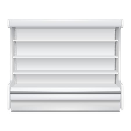 Rack Regal Refroidi Réfrigérateur Cabinet mural blanc Affiche Vitrine vide. Etagères de détail. Produits 3D sur fond blanc isolé. Mock Up Ready pour votre conception. Emballage du produit. Vector EPS10 Vecteurs