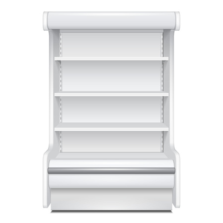 Cooled Regal Rack Refrigerator Wall Cabinet Blank Empty Showcase Displays. Retail Shelves. 3D Products On White Background Isolated. Mock Up Ready For Your Design. Product Packing. Vector EPS10 Vectores