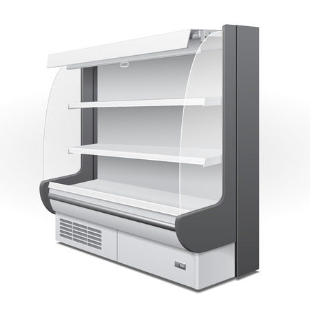 Cooled Regal Rack Refrigerator Wall Cabinet Blank Empty Showcase Displays. Retail Shelves. 3D Products On White Background Isolated. Mock Up Ready For Your Design. Product Packing.