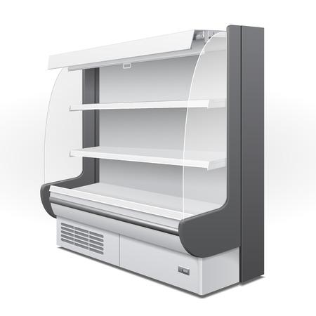 Rack Regal Refroidi Réfrigérateur Cabinet mural blanc Affiche Vitrine vide. Etagères de détail. Produits 3D sur fond blanc isolé. Mock Up Ready pour votre conception. Emballage du produit.