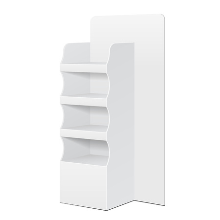 poi: White POS POI Cardboard Floor Display Rack For Supermarket Blank Empty Displays With Shelves Products On White Background Isolated. Ready For Your Design. Product Packing.