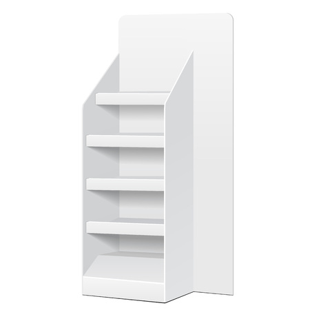 single shelf: White POS POI Cardboard Floor Display Rack For Supermarket Blank Empty Displays With Shelves Products On White Background Isolated. Ready For Your Design. Product Packing.
