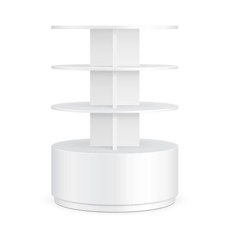 poi: White Round POS POI Cardboard Floor Display Rack For Supermarket Blank Empty Displays With Shelves Products On White Background Isolated. Ready For Your Design. Product Packing. Illustration