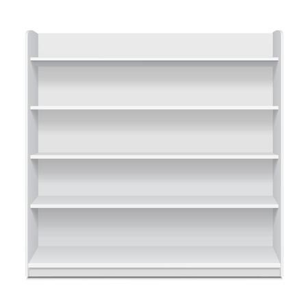displays: White Long Blank Empty Showcase Displays With Retail Shelves Front View 3D Products On White Background Isolated. Ready For Your Design. Product Packing. Vector EPS10