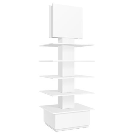 poi: White Square POS POI Cardboard Floor Display Rack For Supermarket Blank Empty Displays With Banner. Products Mock Up On White Background Isolated. Ready For Your Design. Product Packing. Vector EPS10 Illustration