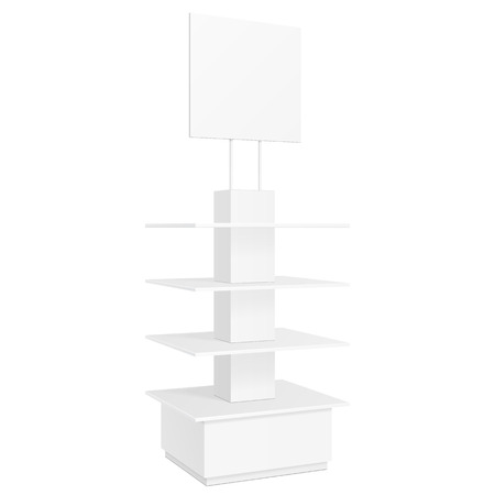shop display: White Square POS POI Cardboard Floor Display Rack For Supermarket Blank Empty Displays With Banner. Products Mock Up On White Background Isolated. Ready For Your Design. Product Packing. Vector EPS10 Illustration