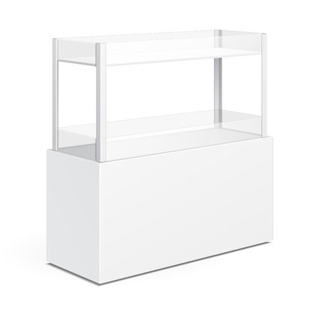 displays: White Square POS POI Cardboard Floor Display Rack For Supermarket Blank Empty Displays With Shelves Products On White Background Isolated. Ready For Your Design. Product Packing. Vector EPS10 Illustration