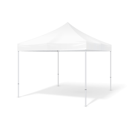 overhang: Promotional Advertising Outdoor Event Trade Show Pop-Up Tent Mobile Advertising Marquee. Mock Up, Template. Illustration Isolated On White Background. Ready For Your Design. Product Packing. Illustration