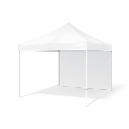 Promotional Advertising Outdoor Event Trade Show Pop-Up Tent Mobile Advertising Marquee. Mock Up, Template. Illustration Isolated On White Background. Ready For Your Design. Product Packing. Illustration