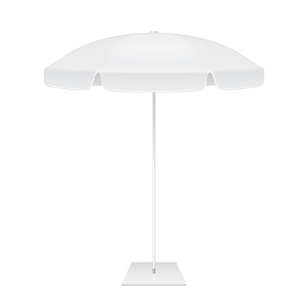 parasol: Promotional Square Advertising Outdoor Garden White Umbrella Parasol. Mock Up, Template. Illustration Isolated On White Background. Ready For Your Design. Product Packing. Vector EPS10