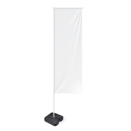 flag banner: White Outdoor Panel Flag With Ground Fillable Water Base, Stander Advertising Banner Shield. Mock Up Products On White Background Isolated. Ready For Your Design. Illustration