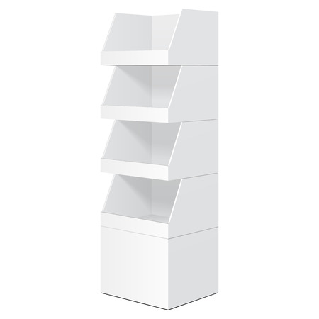 White Tabletop Stand, Cardboard Floor Display Rack For Supermarket Blank Empty Displays With Shelves Products Mock Up On White Background Isolated. Ready For Your Design. Product Packing. Illustration