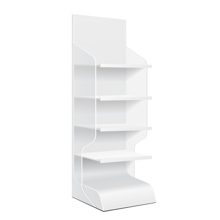 product display: White Cardboard Floor Display Rack For Supermarket Blank Empty Displays With Shelves And Banner Products Mock Up On White Background Isolated. Ready For Your Design. Product Packing.