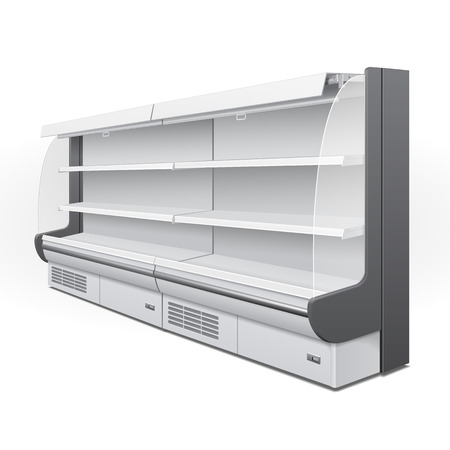Long Cooled Regal Rack Refrigerator Wall Cabinet Blank Empty Showcase Displays. Retail Shelves. 3D Products On White Background Isolated. Mock Up Ready For Your Design. Product Packing. Illustration