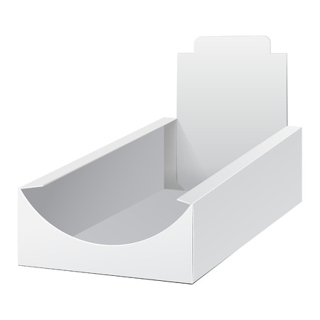 product display: White Display Holder Box POS POI Cardboard Blank Empty. Mockup, Mock Up, Template. Products On White Background Isolated. Ready For Your Design. Mockup Product Packing.