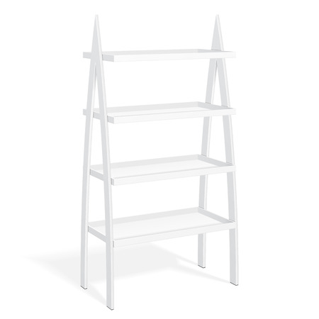 retail display: White Retail Shelves Floor Display Rack For Supermarket Blank Empty Displays With Banner Products Mock Up. 3D On White Background Isolated. Ready For Your Design. Product Packing. Illustration