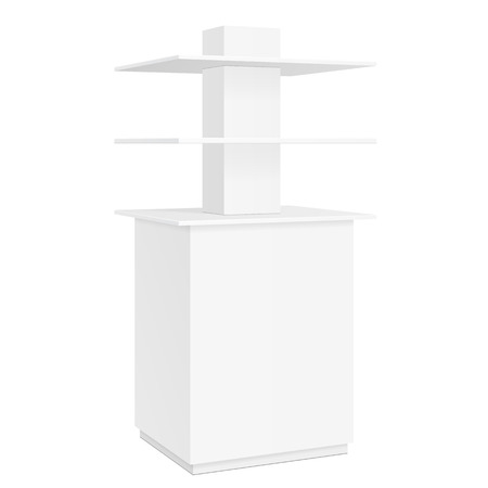 poi: White Square POS POI Cardboard Floor Display Rack For Supermarket Blank Empty Displays With Shelves Products On White Background Isolated. Ready For Your Design.