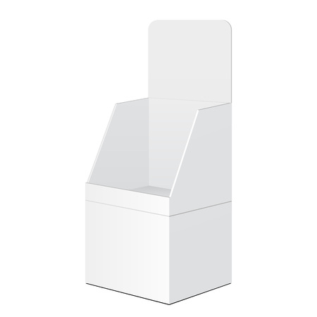 tabletop: White Tabletop Stand, Cardboard Floor Display Rack For Supermarket Blank Empty Displays With Shelves Products Mock Up On White Background Isolated. Ready For Your Design. Product Packing. Illustration