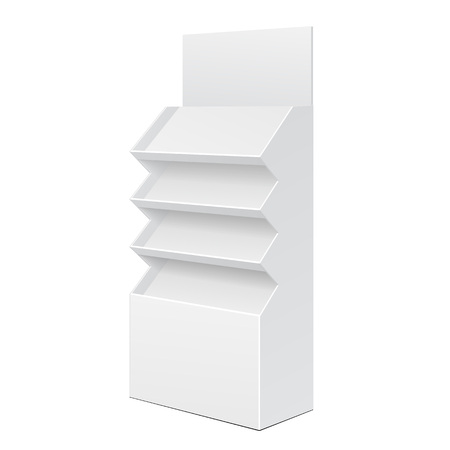 product display: White Cardboard Floor Display Rack For Supermarket Blank Empty Displays With Shelves Products On White Background Isolated. Ready For Your Design. Product Packing.