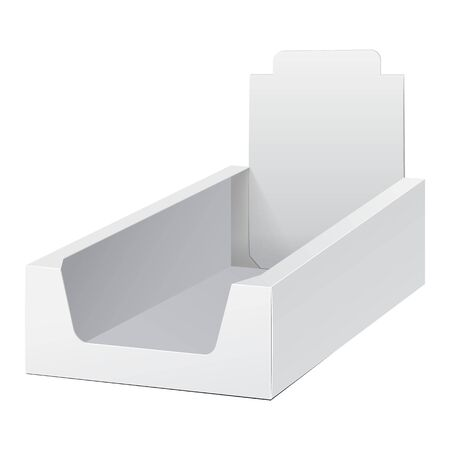 handout: White Display Holder Box POS POI Cardboard Blank Empty. Mockup, Mock Up, Template. Products On White Background Isolated. Ready For Your Design. Mockup Product Packing. Vector EPS10