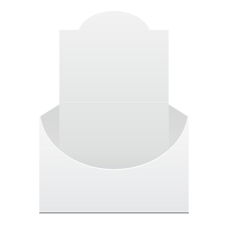 handout: White Display Holder Box POS POI Cardboard Blank Empty, Front View. Products On White Background Isolated. Ready For Your Design. Mockup, Mock Up, Template. Product Packing. Vector EPS10