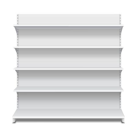 rack: White Blank Empty Showcase Displays With Retail Shelves Front View 3D Products On White Background Isolated. Ready For Your Design. Product Packing. Vector EPS10