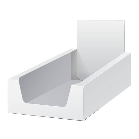 display: White Display Holder Box POS POI Cardboard Blank Empty, Front View. Products On White Background Isolated. Ready For Your Design. Mockup Product Packing. Vector EPS10 Illustration