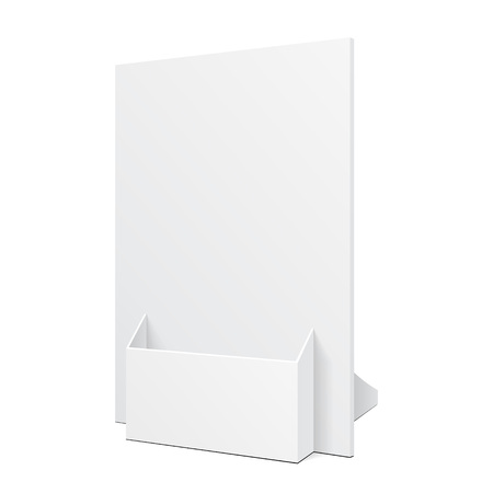 commercial sign: White POS POI Cardboard Blank Empty Show Box Holder For Advertising Fliers, Leaflets Or Products On White Background Isolated. Ready For Your Design. Product Presentation. Vector EPS10
