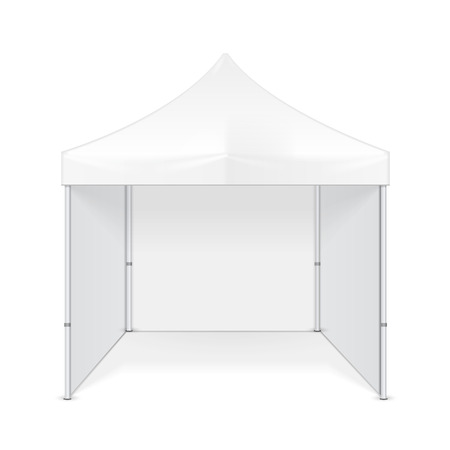 Promotional Advertising Outdoor Event Trade Show Pop-Up Tent Mobile Advertising Marquee. Mock Up, Template. Illustration Isolated On White Background. Ready For Your Design. Ilustrace