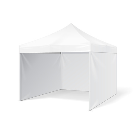 overhang: Promotional Advertising Outdoor Event Trade Show Pop-Up Tent Mobile Advertising Marquee. Mock Up, Template. Illustration Isolated On White Background. Ready For Your Design. Illustration